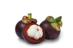 Mangostanfruchtweißhintergrund Lizenzfreies Stockbild
