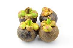 Mangostanfruit en dwarsdoorsnede Stock Afbeeldingen