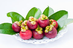 Mangosteen. Fresh mangosteen are in the white basket Royalty Free Stock Photography