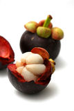 Mangosteen. On a white background Royalty Free Stock Photo