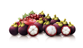Mangosteen, Apple and Cranberries Stock Photos