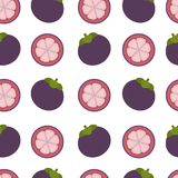 Mangosteen background. Seamless pattern with mangosteen. Flat   Stock Image