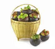 Mangosteen in basket. On white background, the tropical purple fruit in Thailand Stock Photos