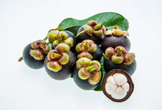 Mangosteen and cross section showing the thick purple skin and w. Stock Images