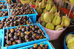 Mangosteen and durian in wholesale fruit market. royalty free stock photos