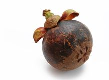 Mangosteen fruit. Mangosteen (Garcinia mangostana) fruit isolated on white background Stock Images