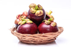 Mangosteen. Fruit with a bright white background Stock Photo