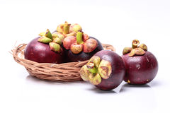 Mangosteen. Fruit with a bright white background Royalty Free Stock Photos