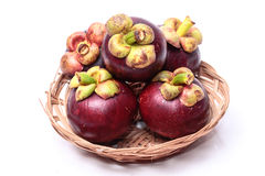Mangosteen. Fruit with a bright white background Royalty Free Stock Image