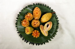 Mangosteen fruit carving Stock Photography