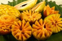 Mangosteen fruit carving Royalty Free Stock Photos