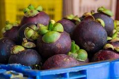 Mangosteen i marknad för ny frukt royaltyfria bilder
