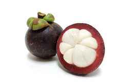 Mangosteen isolated on white background Royalty Free Stock Image