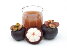 Mangosteen and juice isolated Stock Photo