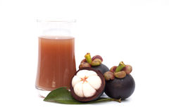Mangosteen and juice isolated Stock Photos
