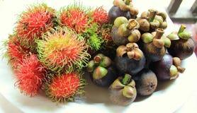 Mangosteen- och rambutanfrukter Royaltyfria Foton