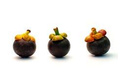 Mangosteen på vit bakgrund Arkivfoto