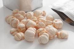 Mangosteen Queen of Fruit Vacuum Freeze Dried Crispy Snack. Tropical Superfoods High Nutrition Royalty Free Stock Photos