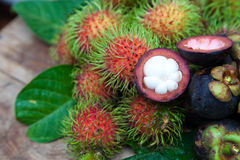 Mangosteen and rambutan Royalty Free Stock Image