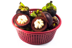 Mangosteen in red basket  isolated Stock Images