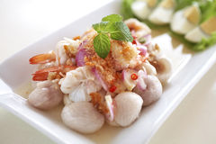 Mangosteen salad in thailand. Mangosteen spicy salad and herb Royalty Free Stock Images