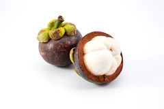 Mangosteen. Slice on white background stock photography