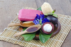 Mangosteen soap made ??from natural ingredients for healthy skin Royalty Free Stock Photo