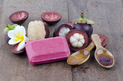 Mangosteen soap made ??from natural ingredients for healthy skin Royalty Free Stock Photos