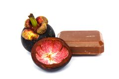 Mangosteen and soap from Mangosteen Stock Image
