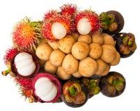 Mangosteen, Southern Longsat, Rambutan fruit Royalty Free Stock Image