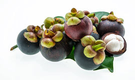 Mangosteen on white background, the tropical purple fruit in Tha Royalty Free Stock Photos