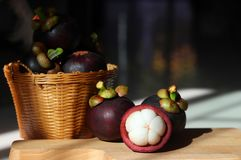 Mangosteens in the basket on white background. natural fruit. royalty free stock photo