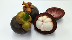 Mangosteens from Thailand. Mangosteen from Thailand is a tropical fruit that should eat after durian to decrease temperature frome durian& x27;s sugar Stock Photos
