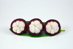 Mangosteens on white background. Asian fruit mangosteen on white background Stock Photography
