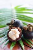 Mangostins на свежих зеленых лист Стоковая Фотография