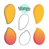 Mangovektorsatz Illustration auf Weiß, flaches Design der Karikatur Stockbild