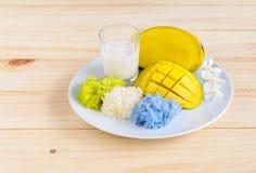Mangowi i naturalni barwioni kleiści ryż z kokosowym mlekiem, Tajlandzki de Zdjęcia Royalty Free