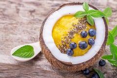 Mangowi smoothies dla śniadania z garnirunkiem Zdjęcia Stock