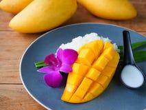 Mangowy kleistych ryż Tajlandzki deser Fotografia Stock