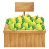 Mangowy stojak z drewnianym signboard Zdjęcie Stock