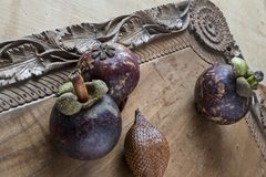 Mangosteen and salak stock photo