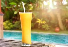 Mangro smoothie in a glass close-up. Royalty Free Stock Photos
