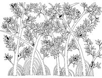 Mangrove Forest with Bird Doodle Vector Stock Image