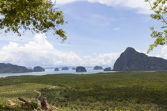 Mangrove forest and rock mountains island in Phang Nga Province Royalty Free Stock Photo