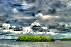 Mangrove Island in lagoon. Clouds hanging over a tropical island in lagoon Royalty Free Stock Photos