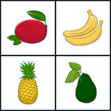 Mangue, banane, ananas, avocat illustration stock
