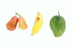 Mangue, banane et pomme rose photographie stock libre de droits