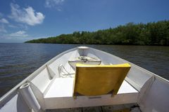 Mangue Seco, Bahia, Brazil. Boat trip on the Real River to Mangue Seco. Mangue Seco is  located in the northern coast of the state of Bahia, very close to the Royalty Free Stock Image