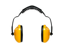 Manguitos protectores del oído con el backgroun blanco Imágenes de archivo libres de regalías