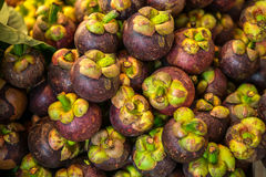 Mangustin's fruit at the thai market Royalty Free Stock Photos
